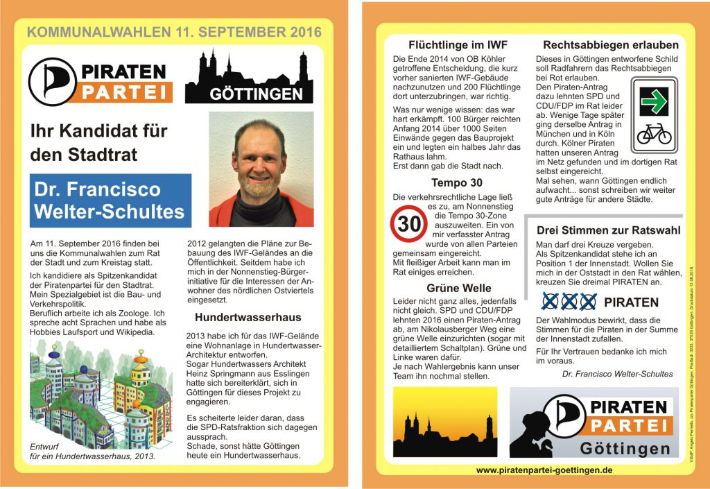 Flyer Wahlbereich 1 Francisco Welter-Schultes
